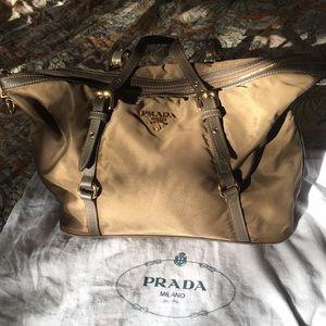 Prada Army Green Tessuto Saffiano Tote Bag